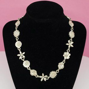 Vintage E&H Pewter Statement Necklace Silver Tone